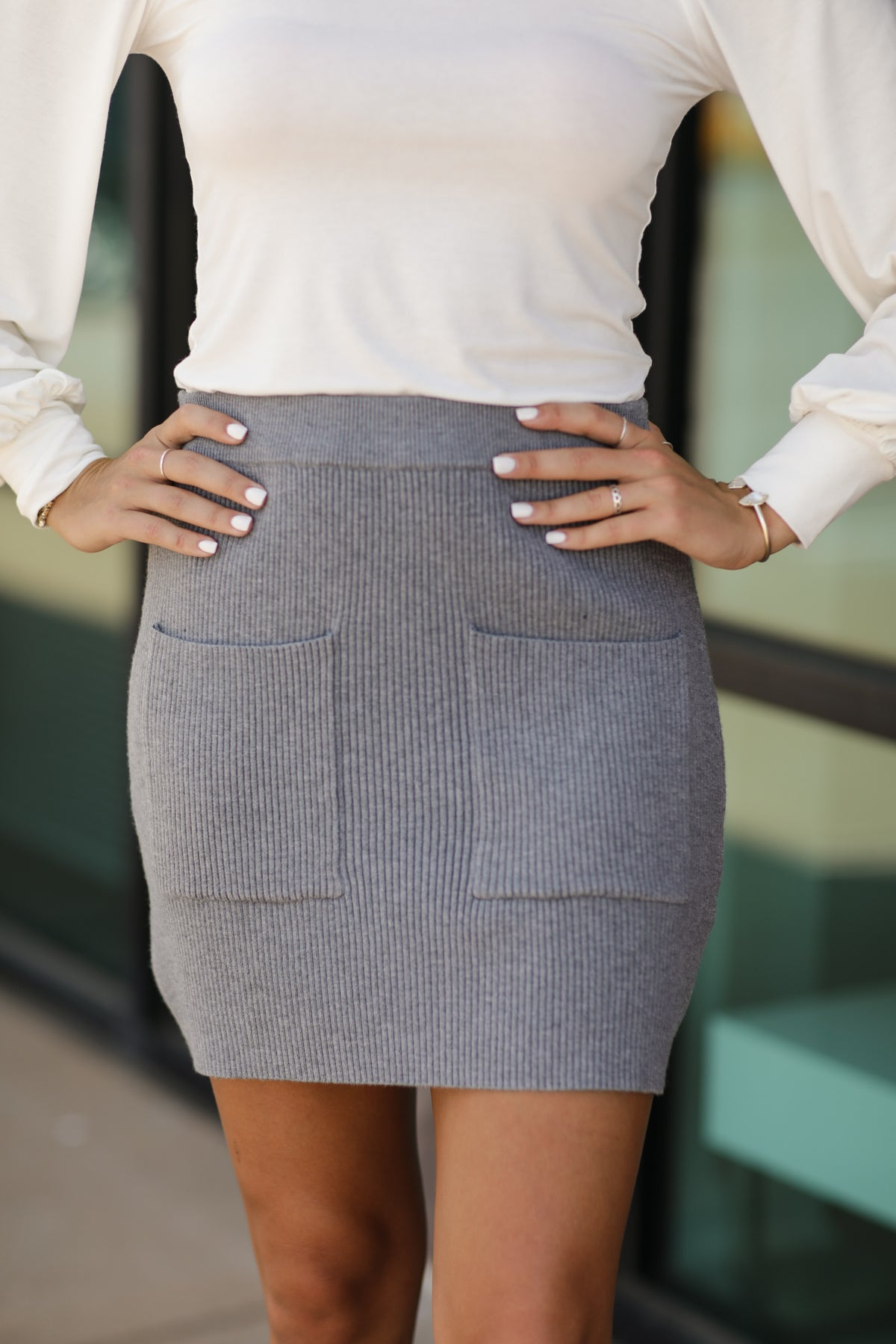 Check Me Out Skirt- Charcoal