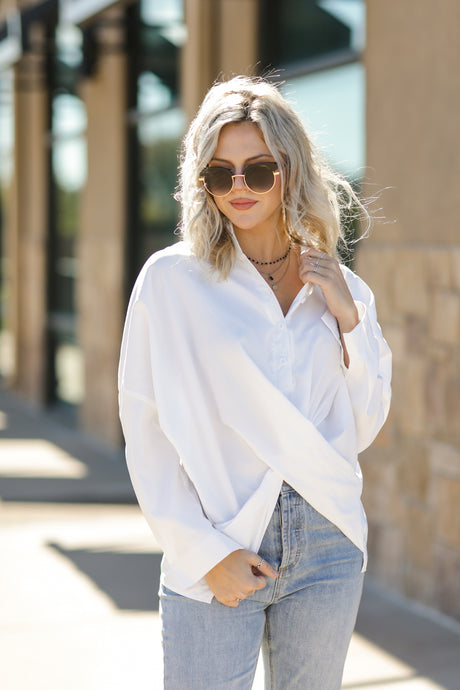 Boss Babe Casual Blouse- White