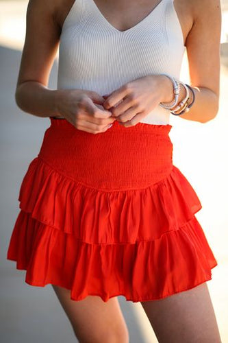 TGIF Skirt- Orange Red