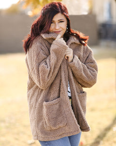 Sherpa Teddy Bear Coat - Toffee