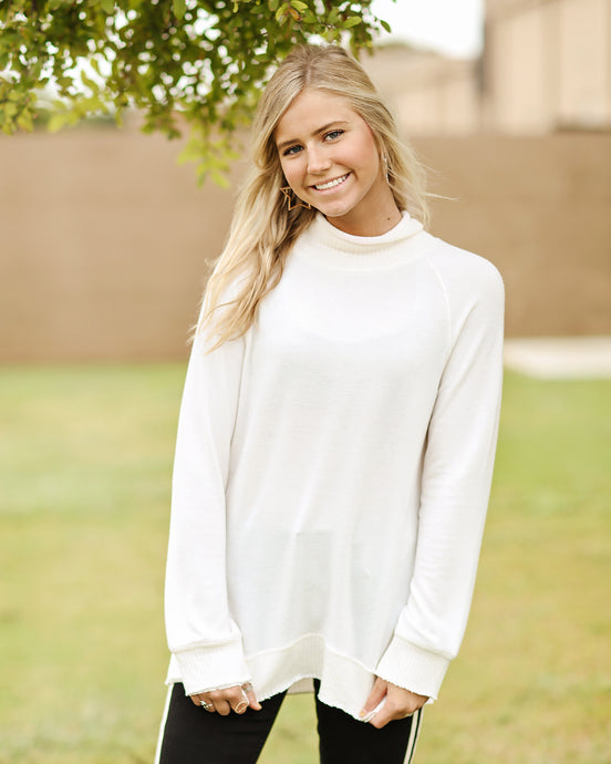 Soft-Spun Mock Neck Pullover