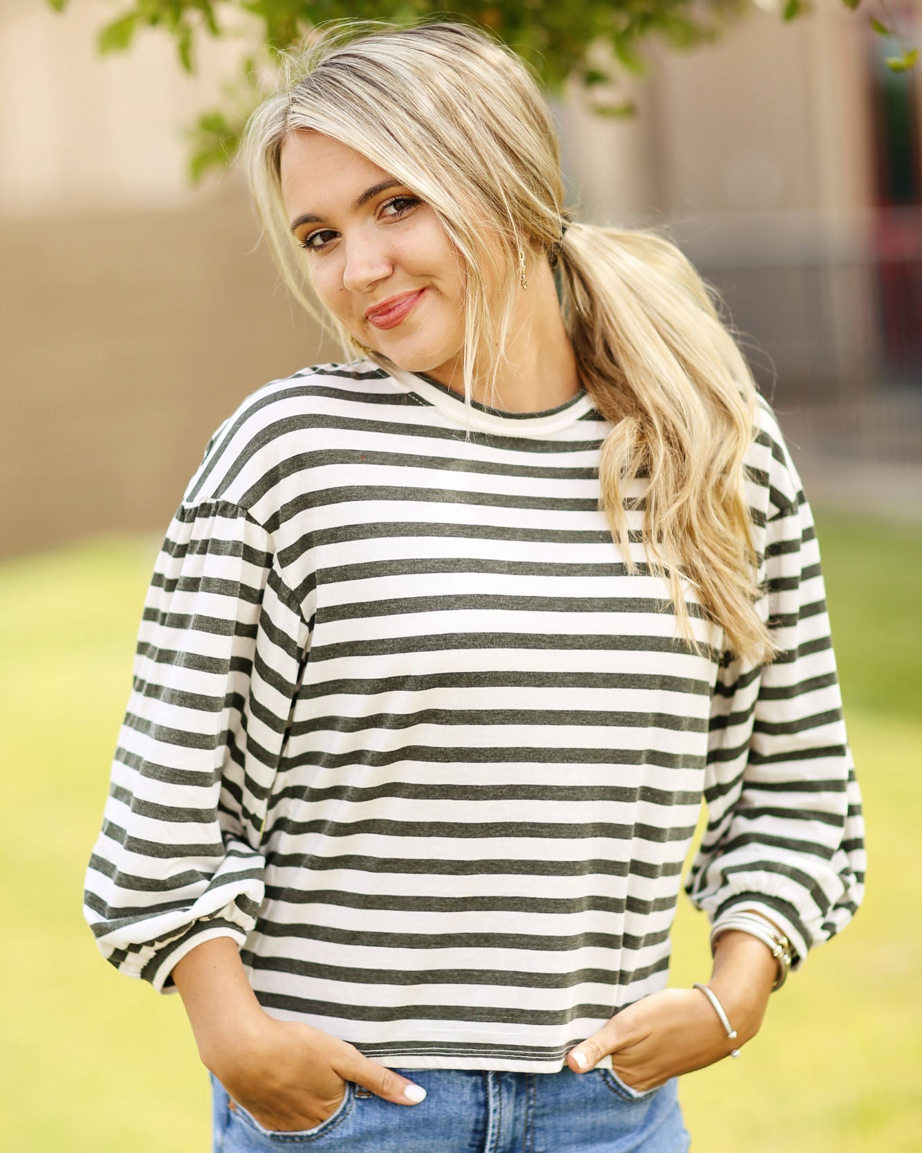 Canyon Stripe Peasant Top