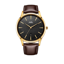 Brown Vegan Strap on Gold Watch