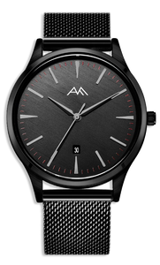Black Classic Watch - Black Milanese Mesh Strap