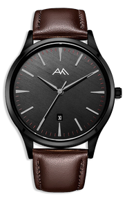 Black Classic Watch - Brown Strap