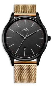 Black Classic Watch - Gold Milanese Mesh Strap
