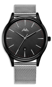 Black Classic Watch - Silver Milanese Mesh Strap