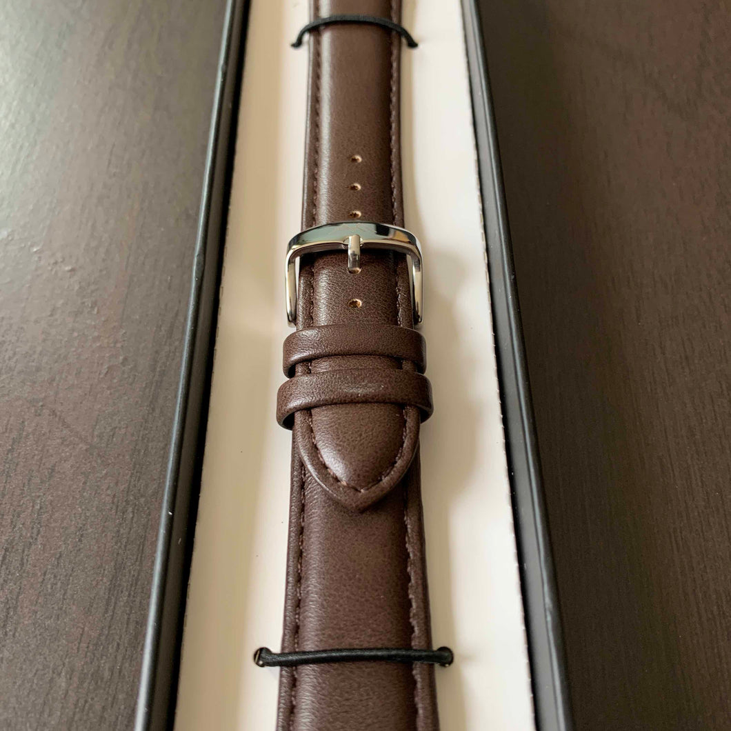 Brown Vegan Leather Watch Strap for Silver Watches