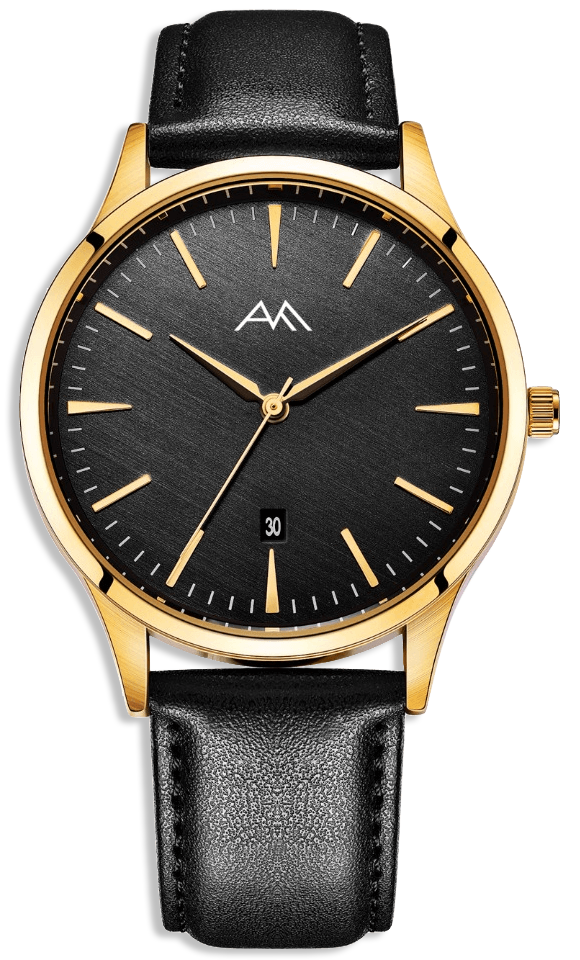 Gold Classic Watch Black Strap