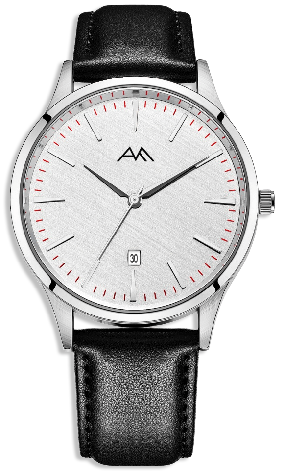 Classic Silver Watch - Black Strap