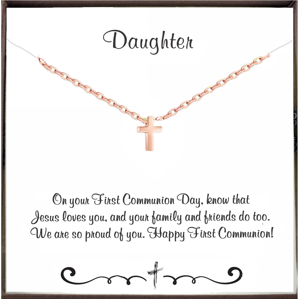 Daughter - First Holy Communion Necklace - Rose Gold Tiny Cross