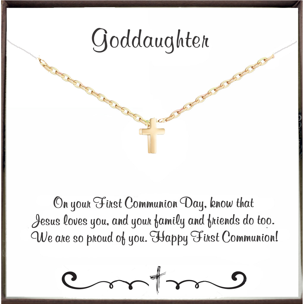 First Holy Communion - Tiny Cross Necklace for Goddaughter