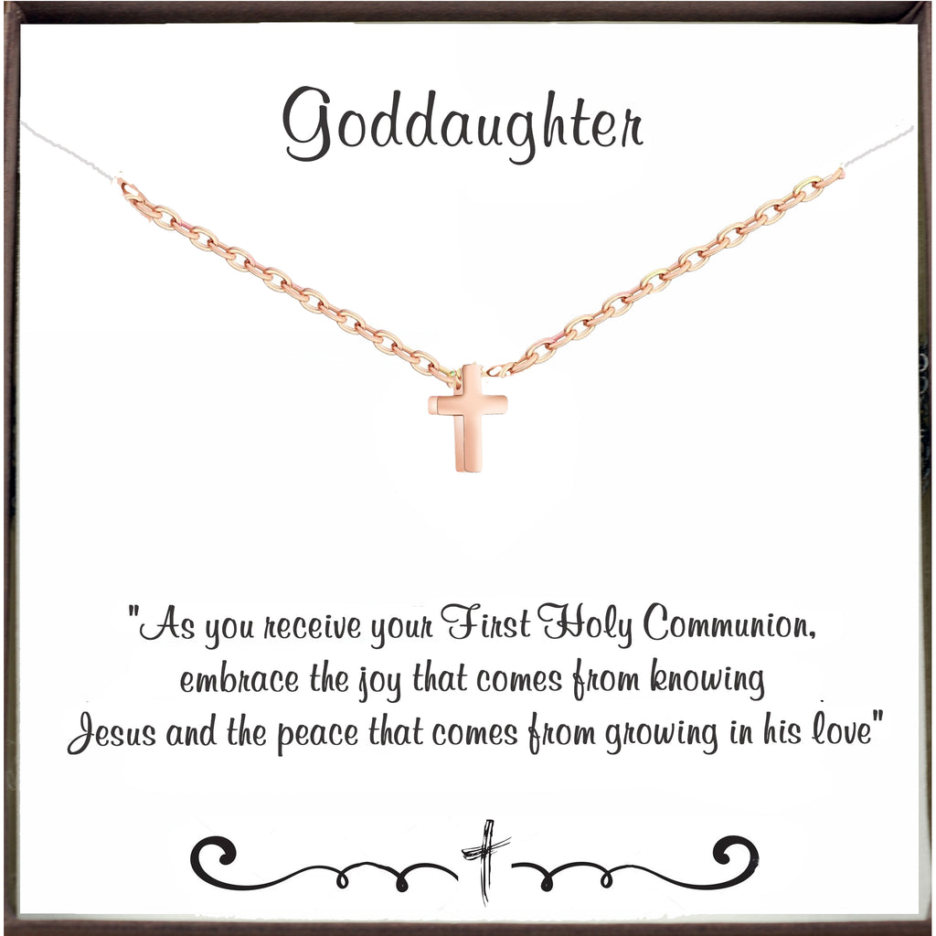To my Goddaughter - Communion Necklace - Rose Gold Tiny Cross