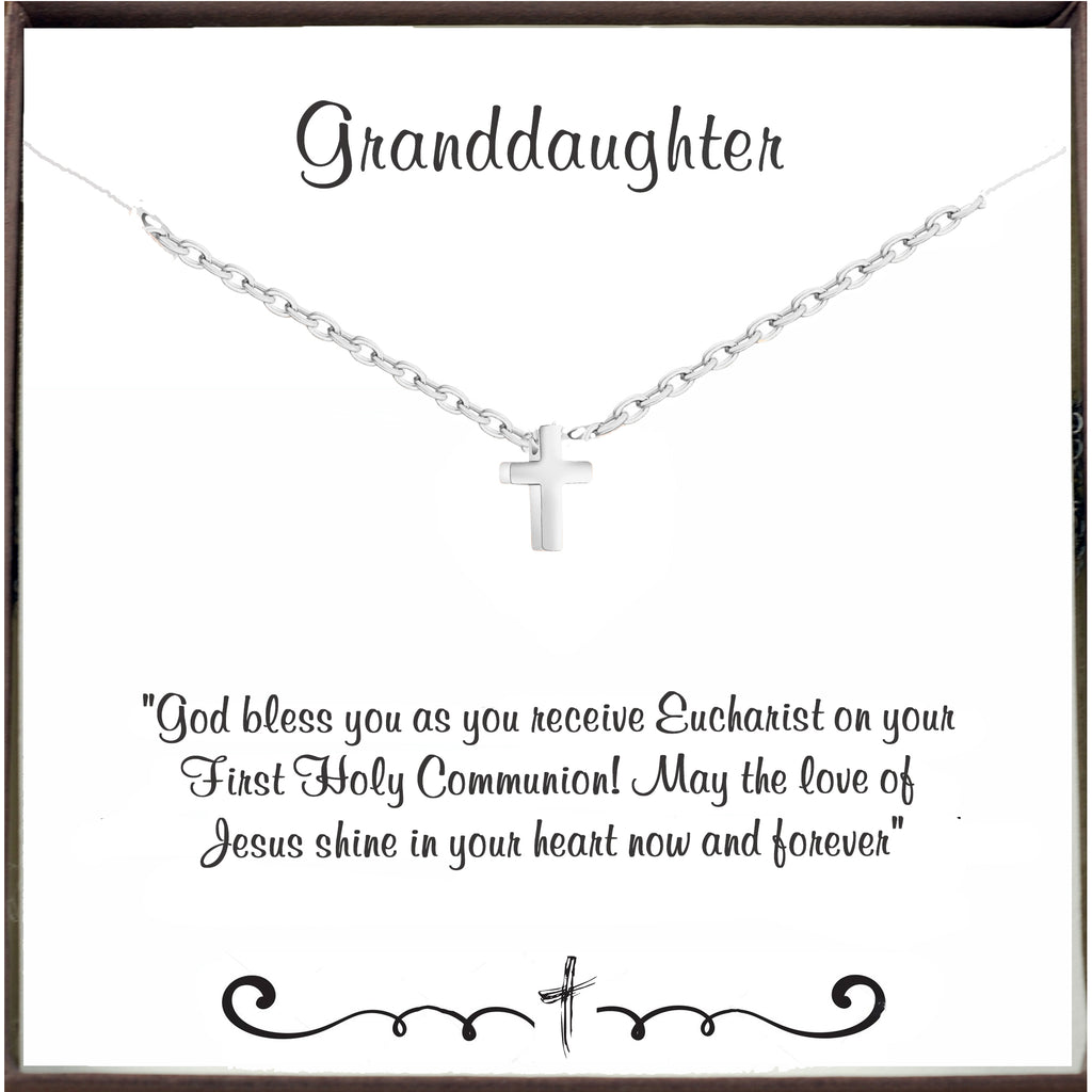 First Holy Communion - Tiny Cross Necklace for Granddaughter