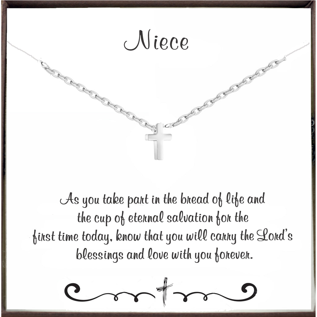 Communion Silver Cross Necklace for Niece