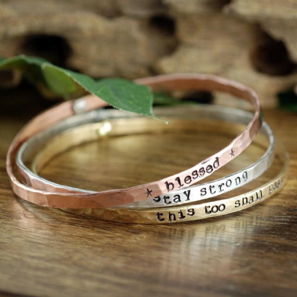 Inspirational Quote Riveted Bangle Bracelet
