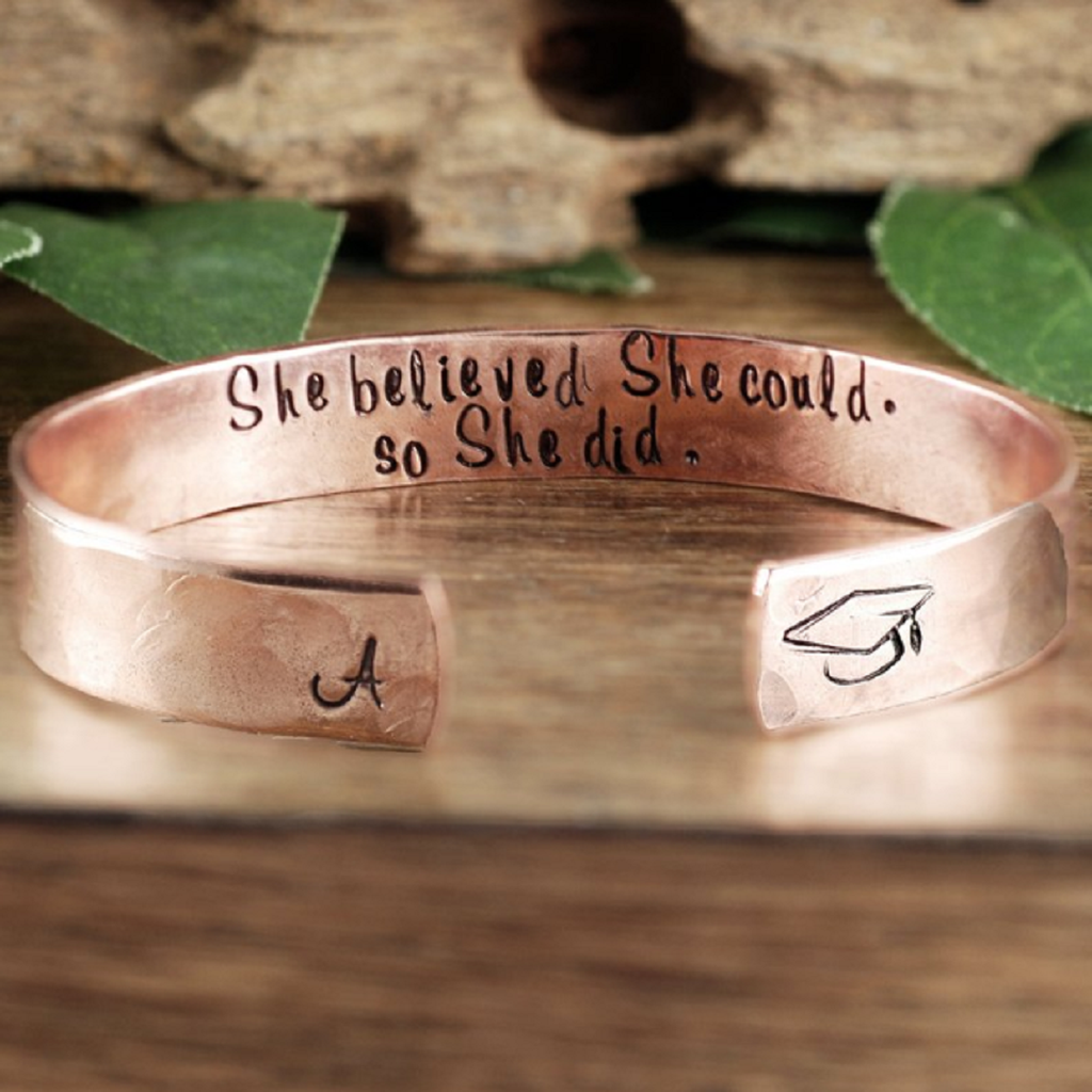 'She Believed She Could, So She Did' Graduation Cuff Bracelet