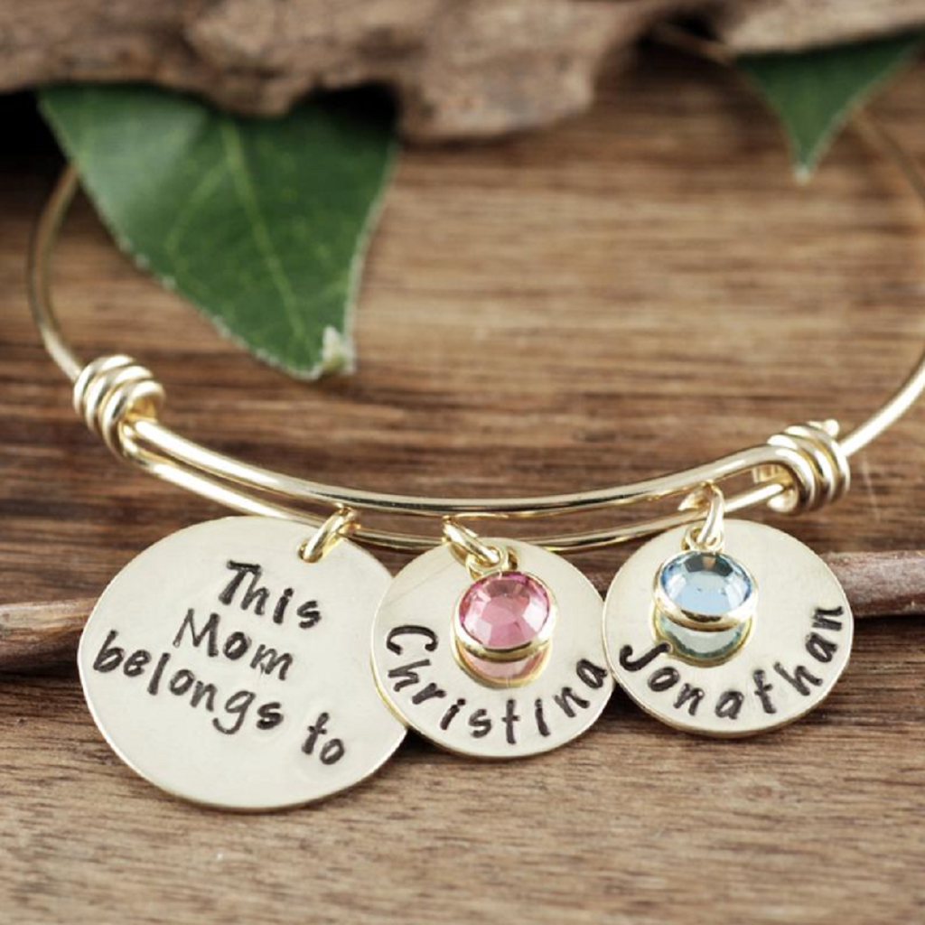 'This Mom Belongs To' Bracelet w/ Birthstones & Name Tags