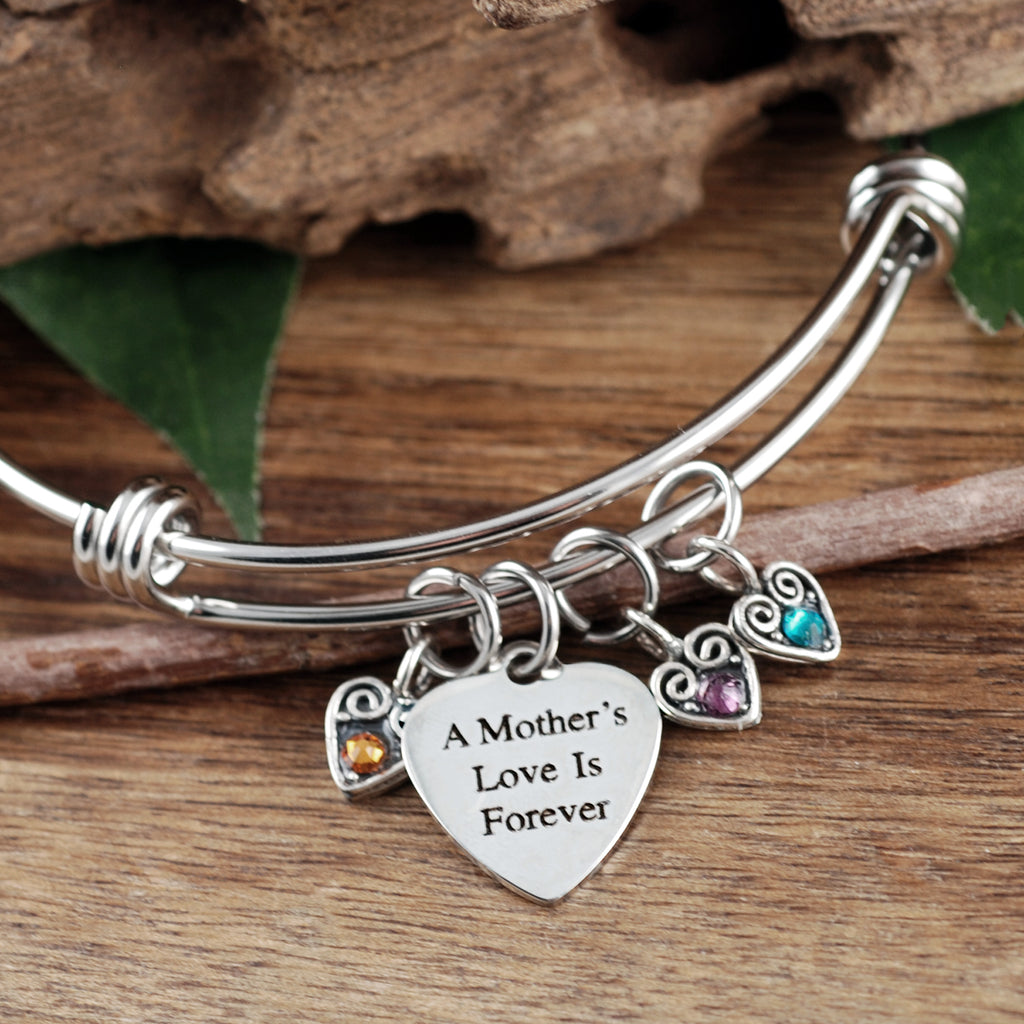 A Mother's Love is Forever Sterling Hearts Bracelet