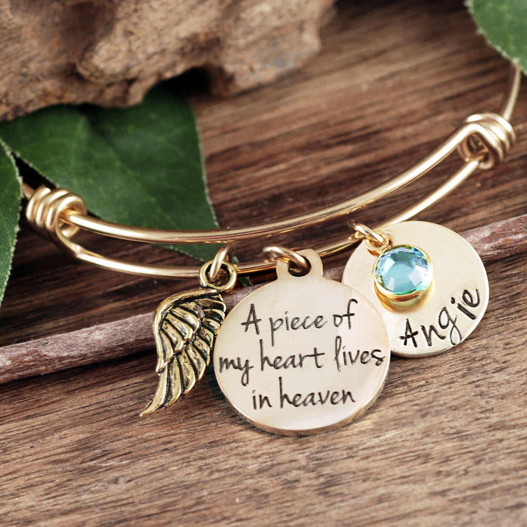A Piece of my Heart Lives in Heaven Memorial Bracelet