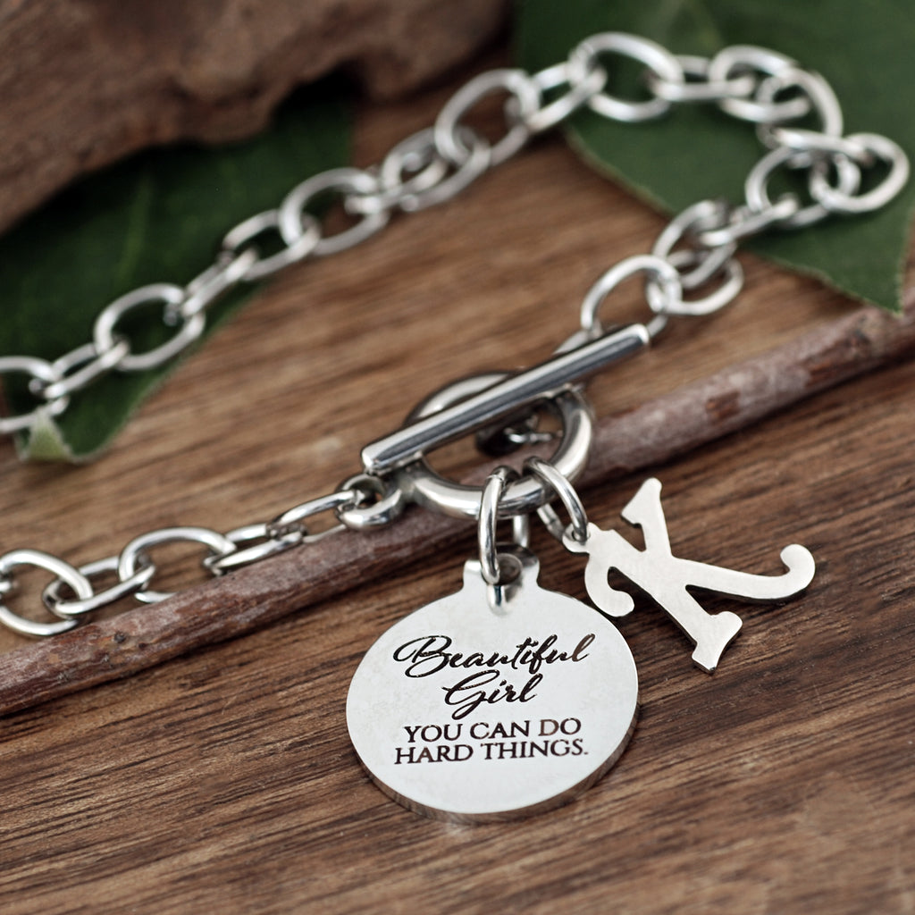 Beautiful Girl... you can do hard things Chain Link Bracelet
