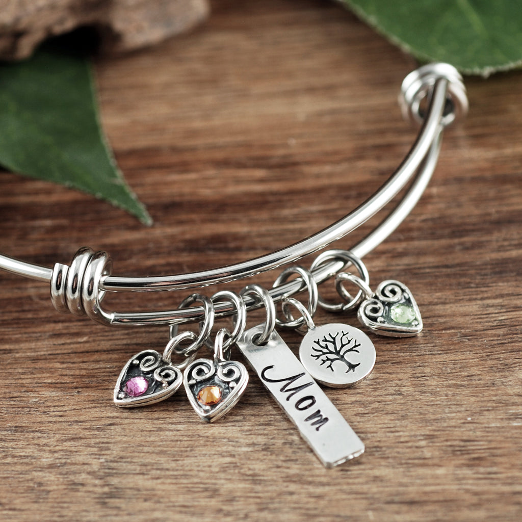 Personalized Mom Sterling Silver Hearts Bracelet