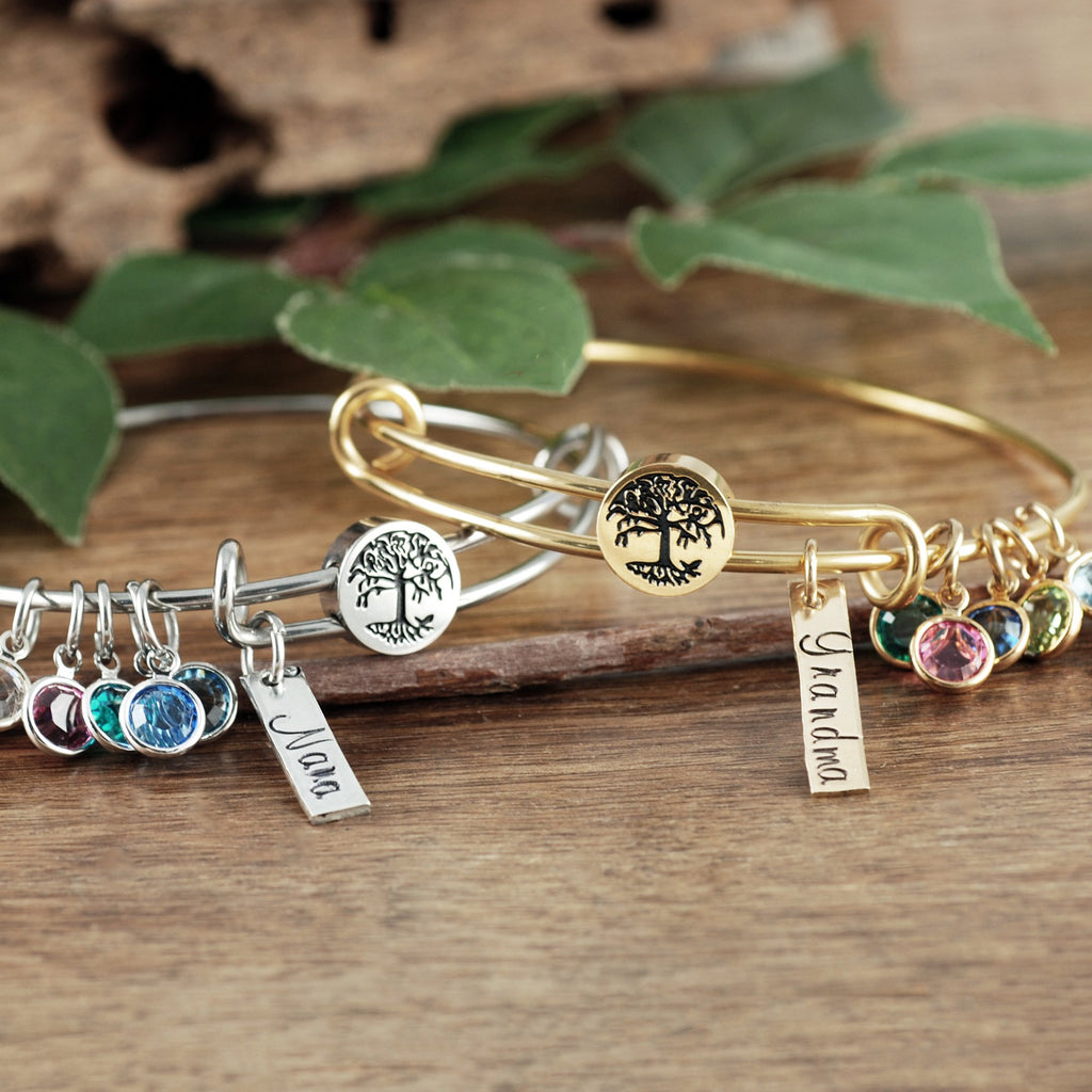 Personalized Family Tree Birthstone Bracelet