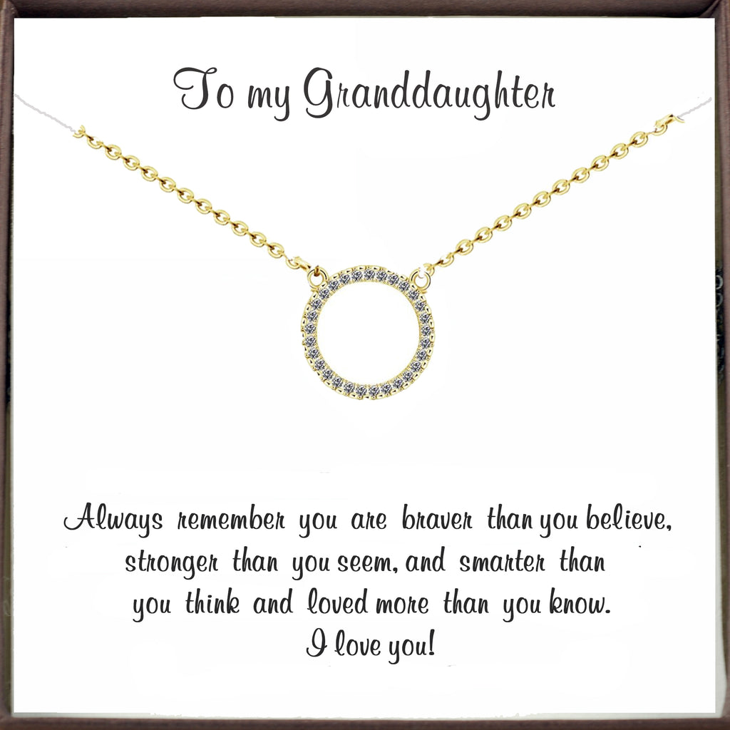 Gold Crystal Circle Necklace for Granddaughter