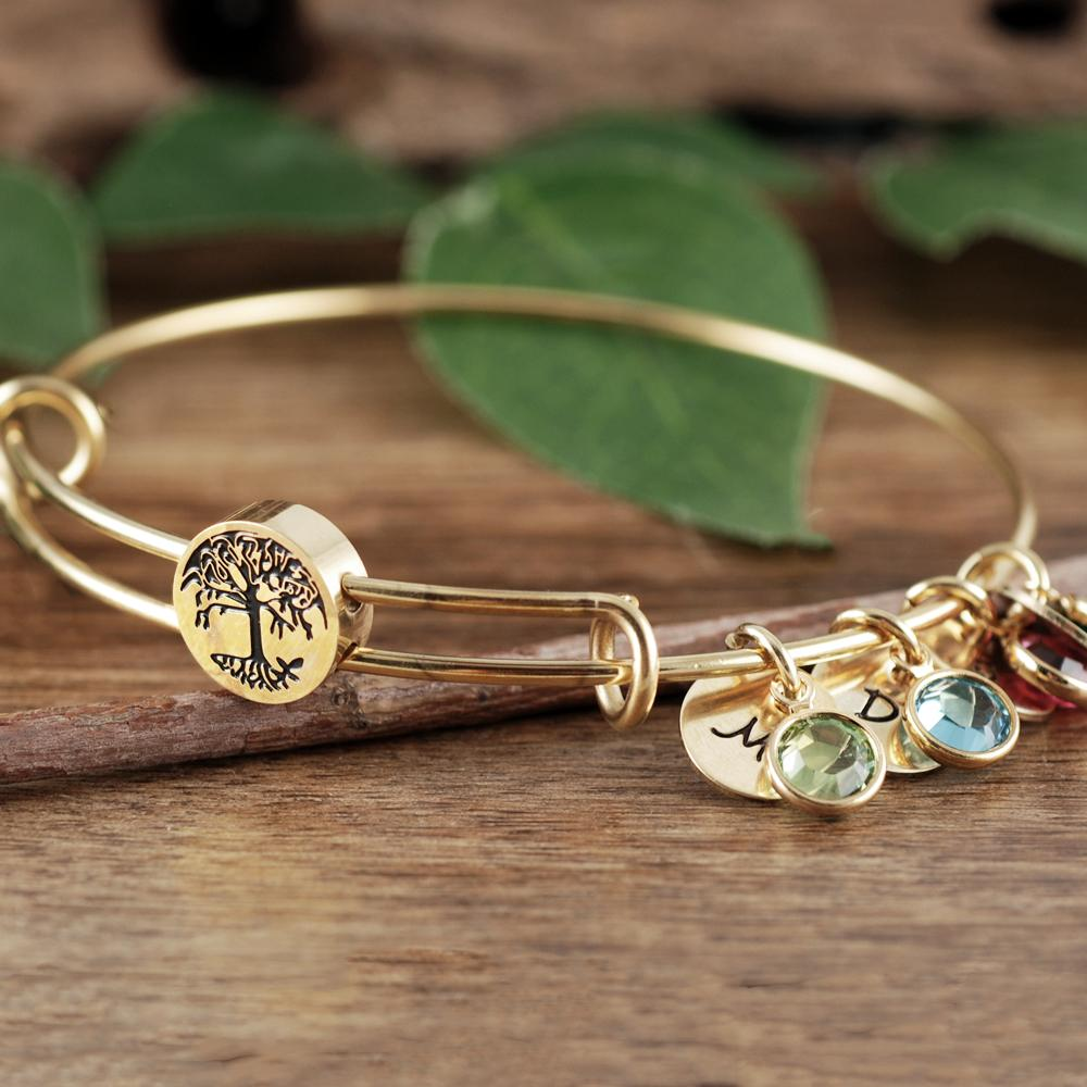 Family Tree Birthstone + Discs Bracelet