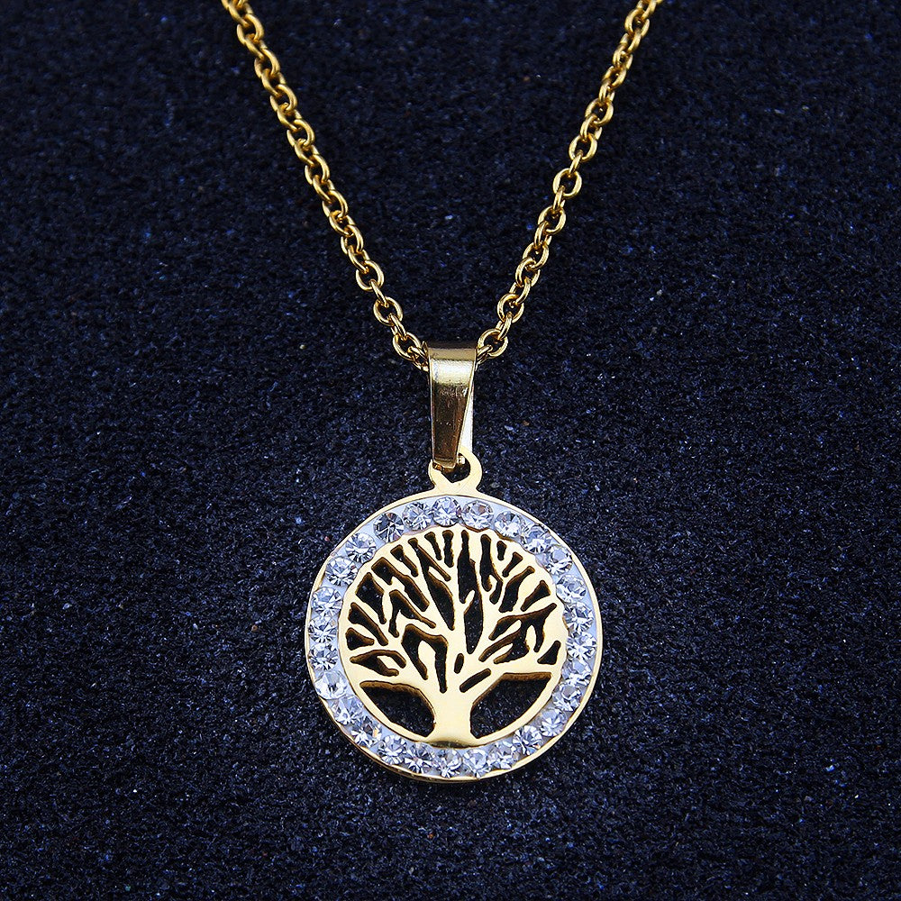 Gold Family Tree Necklace with Cubic Zirconia