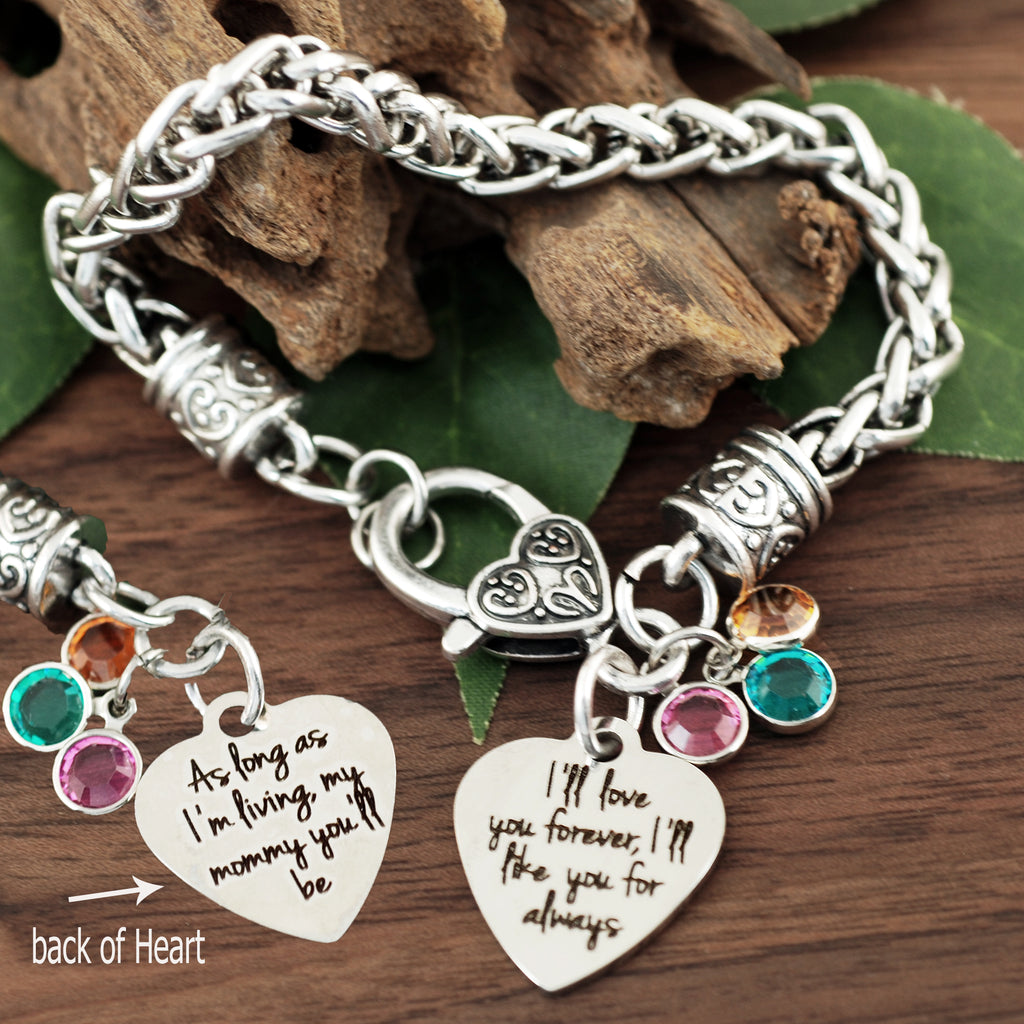 As long as I'm living my Mommy you'll be Antique Silver Bracelet
