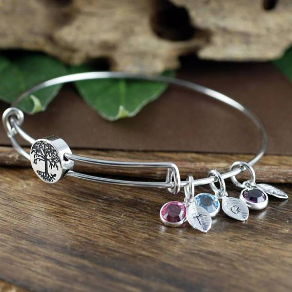 Family Tree Birthstone + Leaves Bracelet