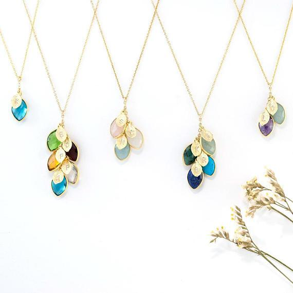 Birthstone Cascade Leaf Necklace