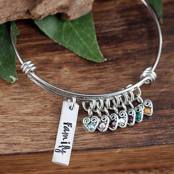 Personalized Sterling Silver Hearts Bracelet for Mom and Grandma