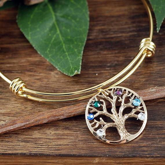 Textured Family Tree Pendant Bangle