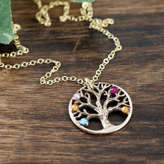 Textured Family Tree Pendant Necklace
