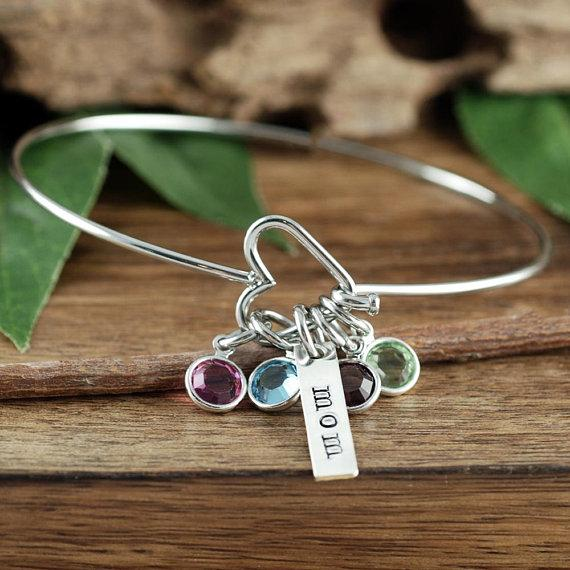 Birthstone Heart Bracelet w/Name Tag