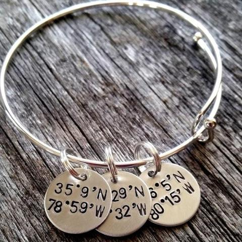 personalized coordinate latitude product cuff rl idea customized jewelry gift longitude bracelet