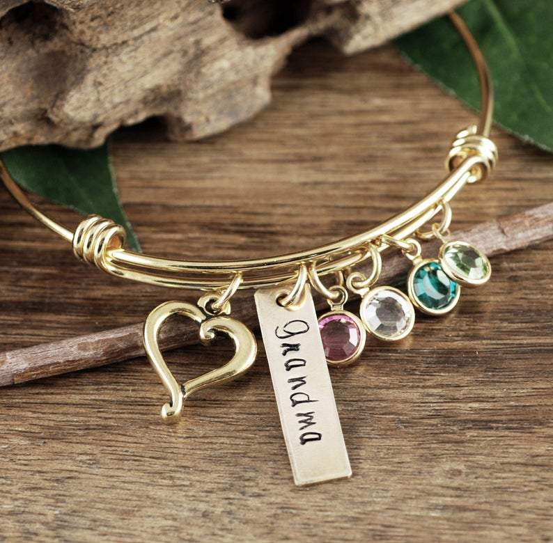 Birthstone Bracelet w/ Heart Charm & Name Tag for Grandma (Mom)
