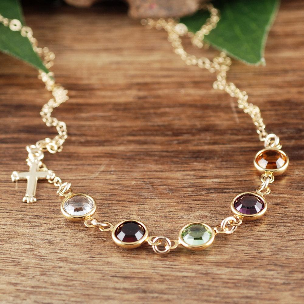 Spiritual Cross Necklace with Birthstones