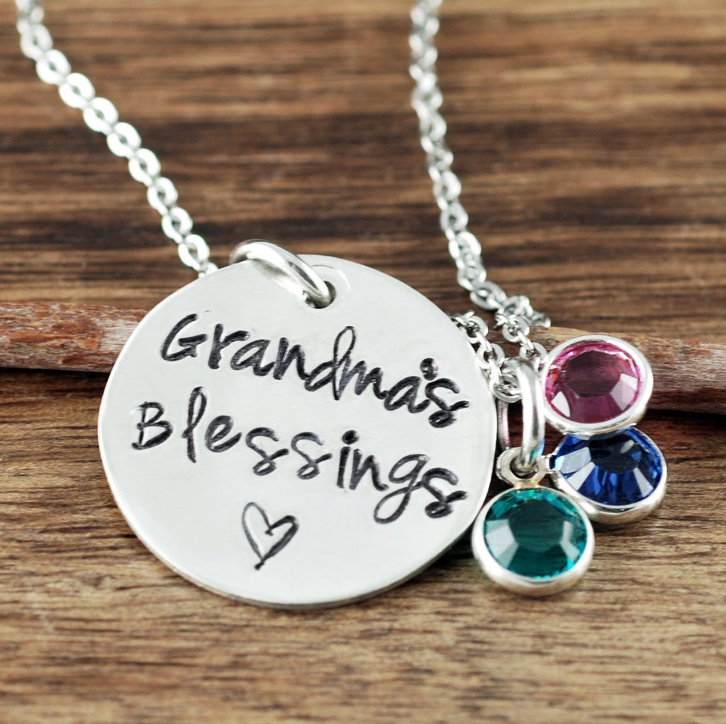 Grandma's Blessings Necklace with Birthstones