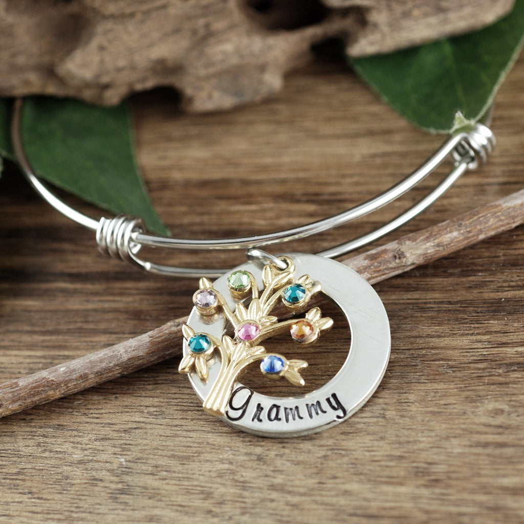 Family Tree Charm and Custom Name Bangle
