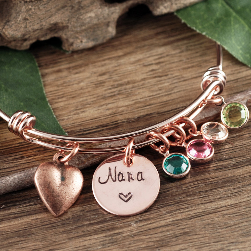 Personalized Gold Birthstone Bracelet for Grandma (Mom)