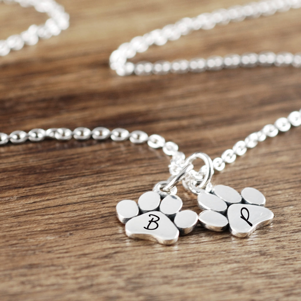 Personalized Pet Memorial Necklace with Dog Paws