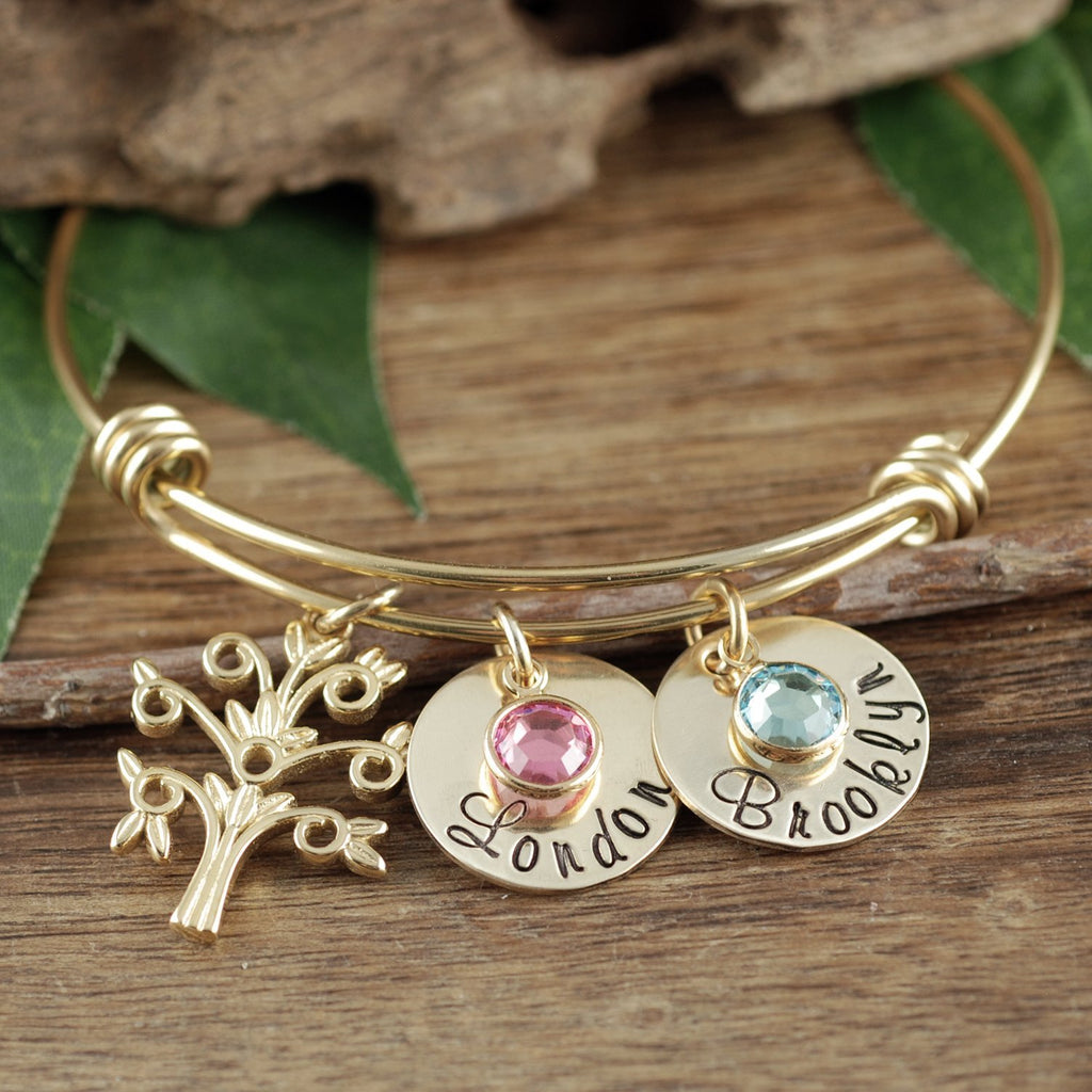 Grandmother Bracelet w/ Tree Charm and Name Discs