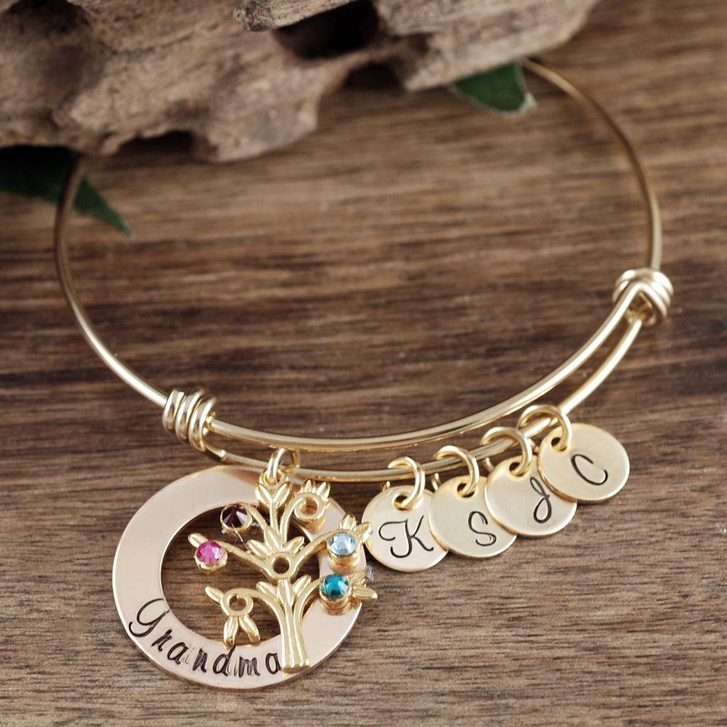 Grandmother Bracelet w/ Family Tree Charm and Initial Discs