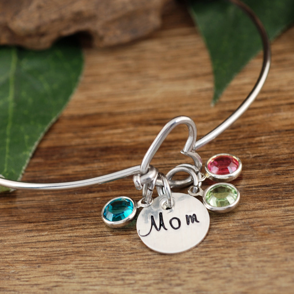 Birthstone Heart Bracelet for Mom or Grandma