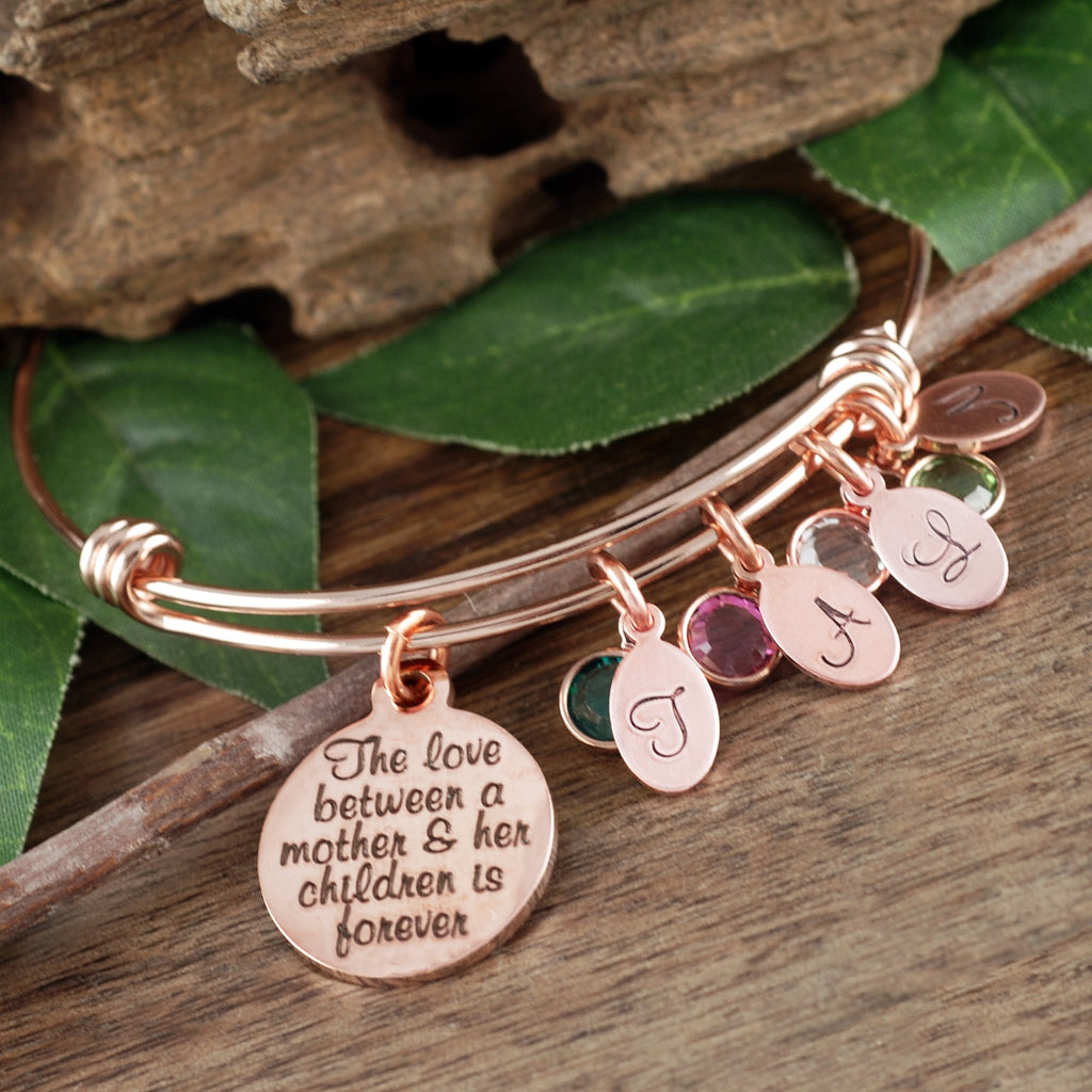 Mother and Child Bracelet with Initials and Birthstones