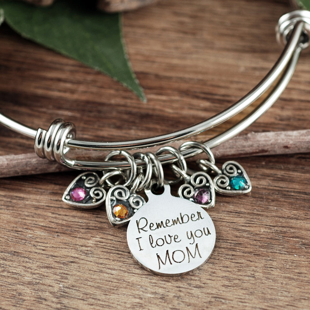Remember I love you MOM - Sterling Hearts Bracelet