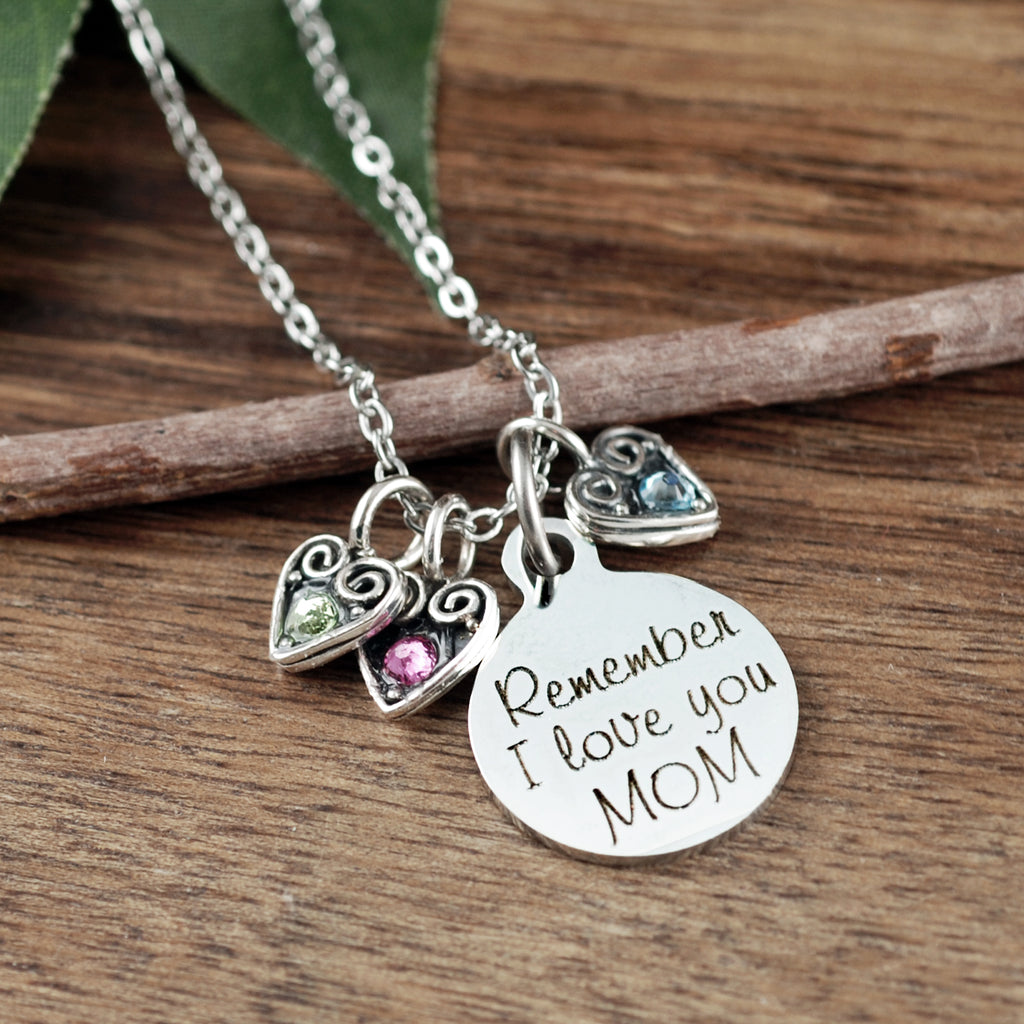 Remember I love you MOM - Sterling Hearts Necklace